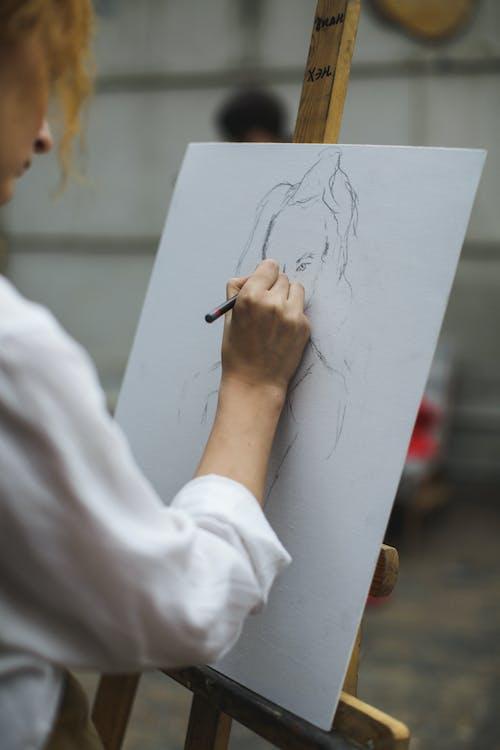 adulto, arte, arte de lápis