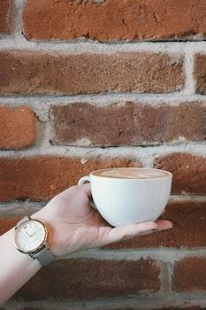 Free stock photo of coffee, hand, girl, watch