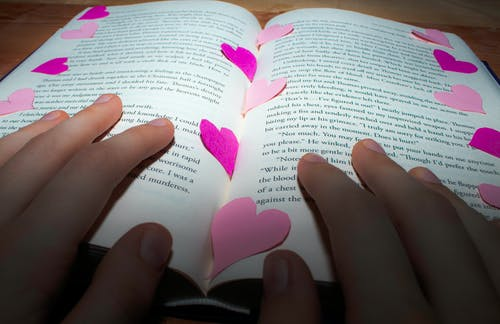 Free stock photo of book, hands, heart