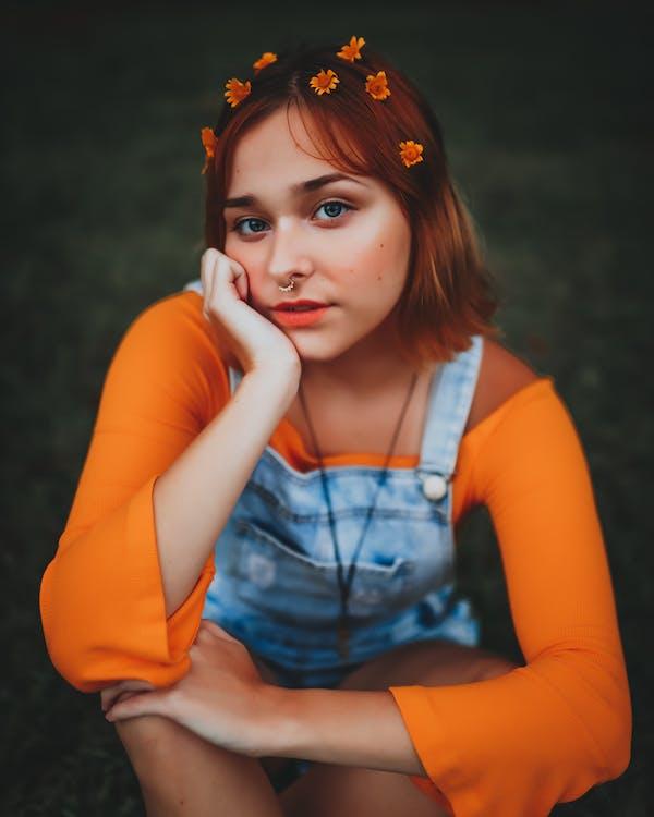 Girl Wearing Orange Off Shoulder Long Sleeves