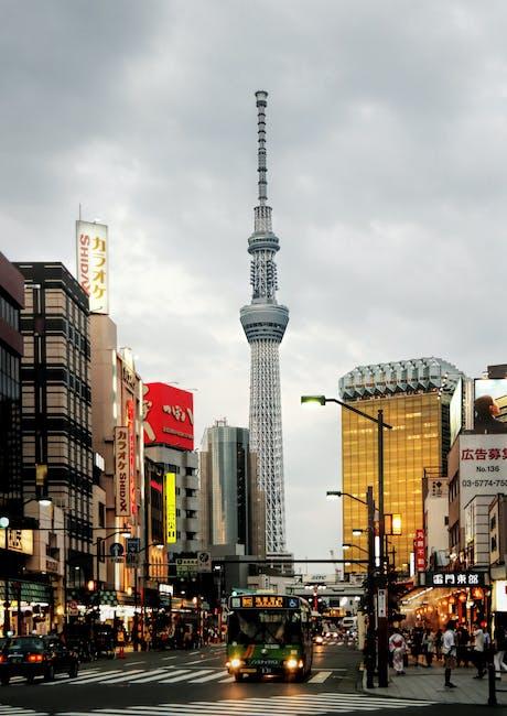 People walking around high rise buildings
