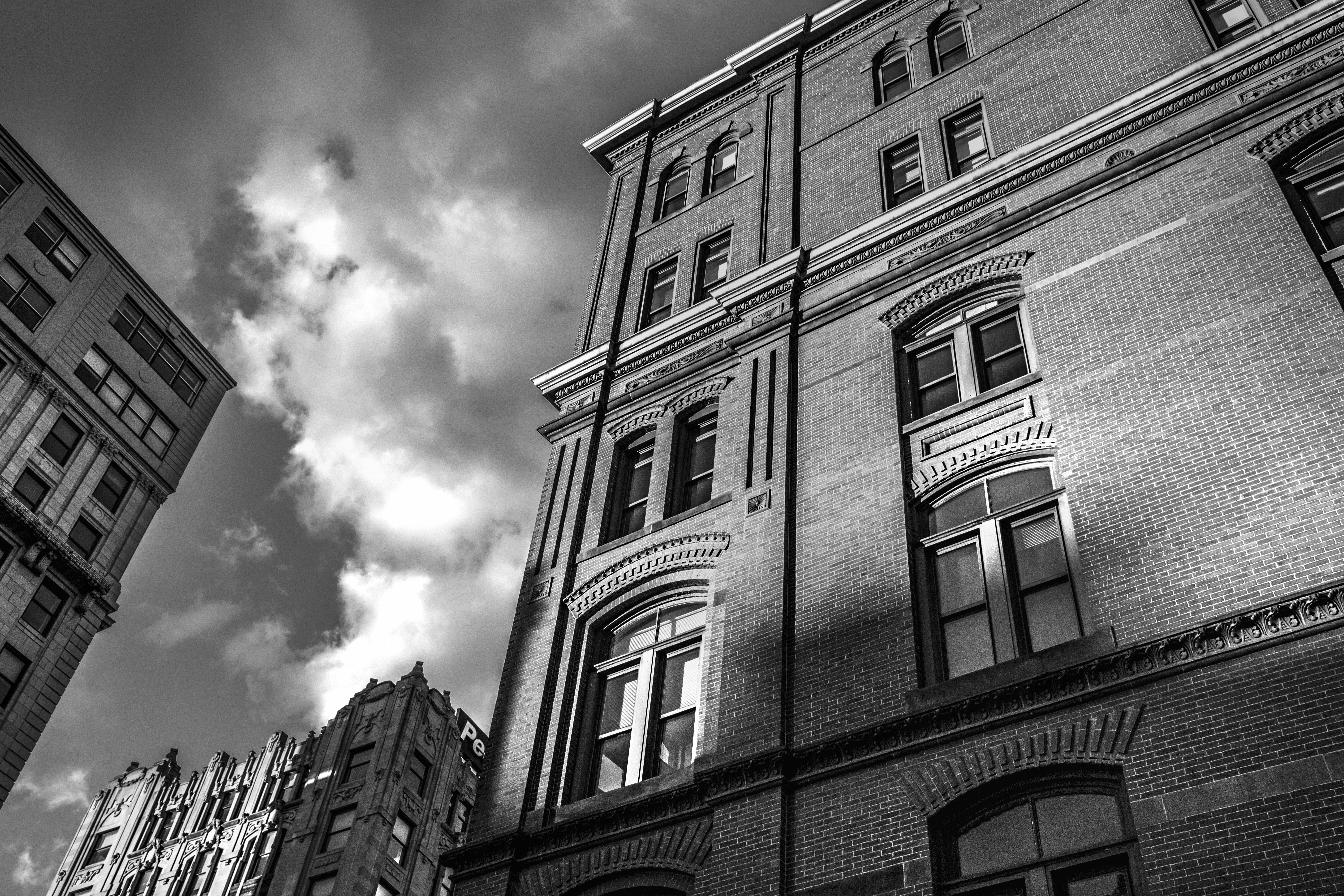 black-and-white, buildings, city
