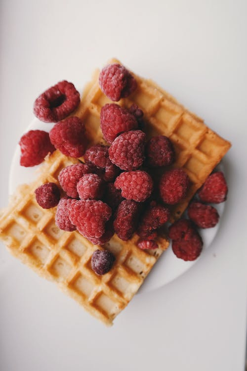 Red Raspberries and Waffle