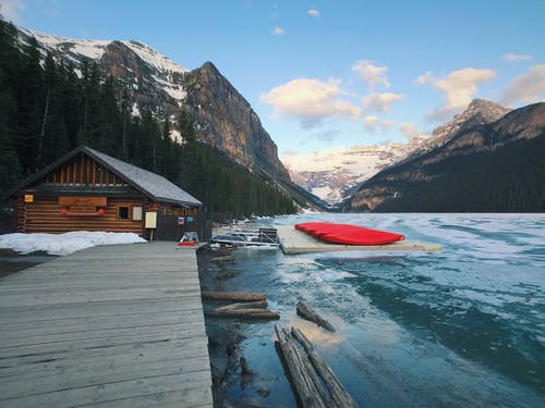 Free stock photo of banff, boat, cabin, canoe