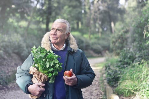 Man in Blue Jacket Holding Green Plants and Red Apple