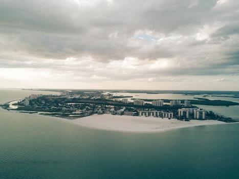 Free stock photo of sea, bird's eye view, sky, water