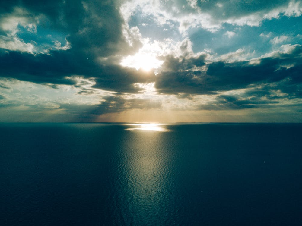 Ocean Under Crepuscular Clouds