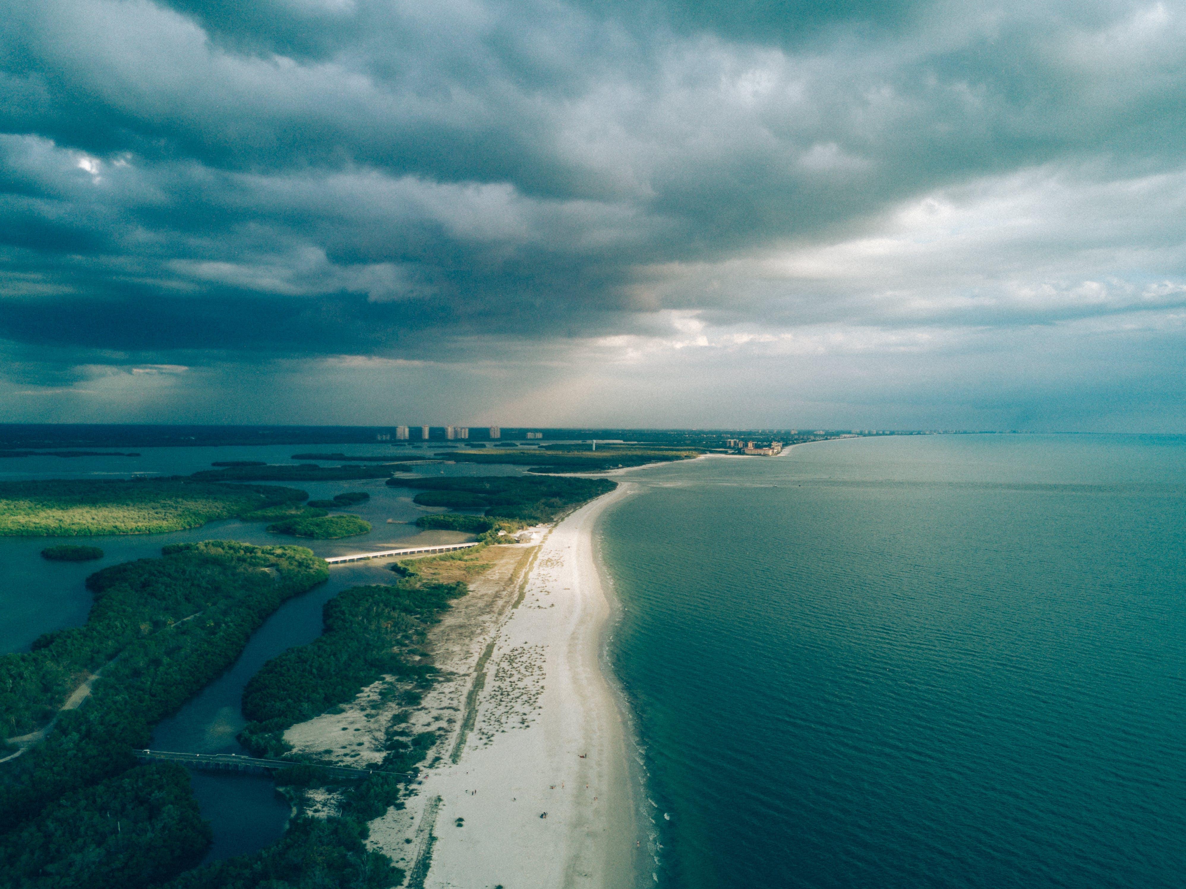 aerial, beach, clouds