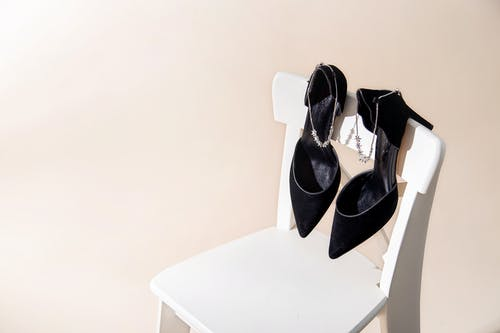 Black Leather Peep Toe Heeled Shoes on White Table