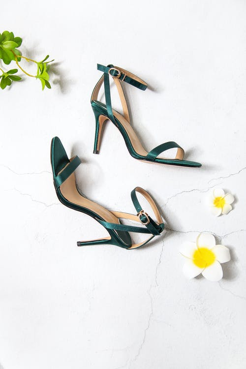 Green and Brown Peep Toe Heeled Sandals