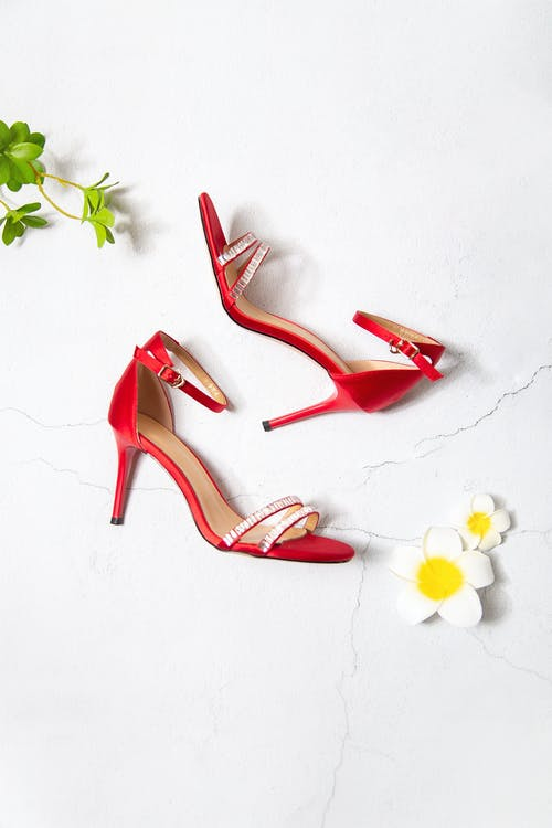 Red and Brown Peep Toe Heeled Sandals