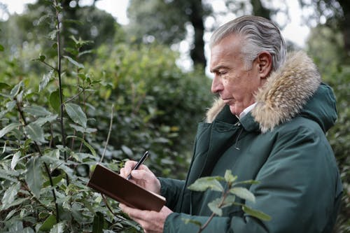 Side view of aged gray haired male in warm outerwear writing with pen in notebook while standing in park