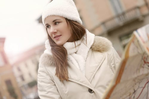 Woman in White Coat and White Knitted beanie