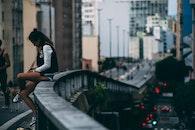 city, streets, woman