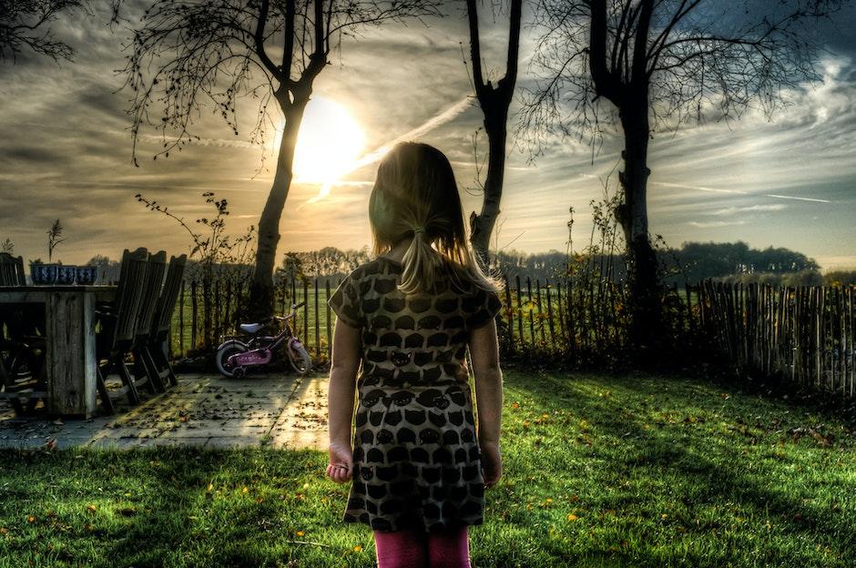 backyard, girl, person