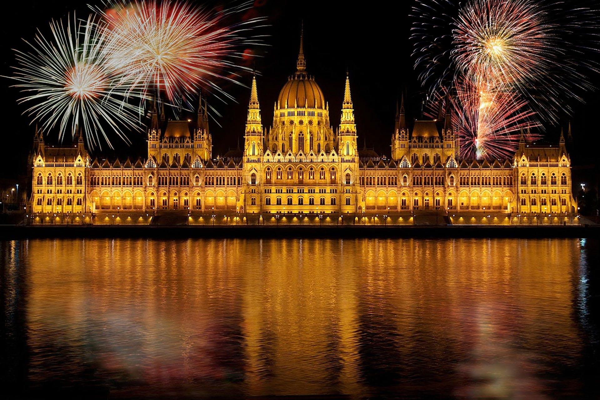 Brown Concrete Establishment Surrounded by Fireworks