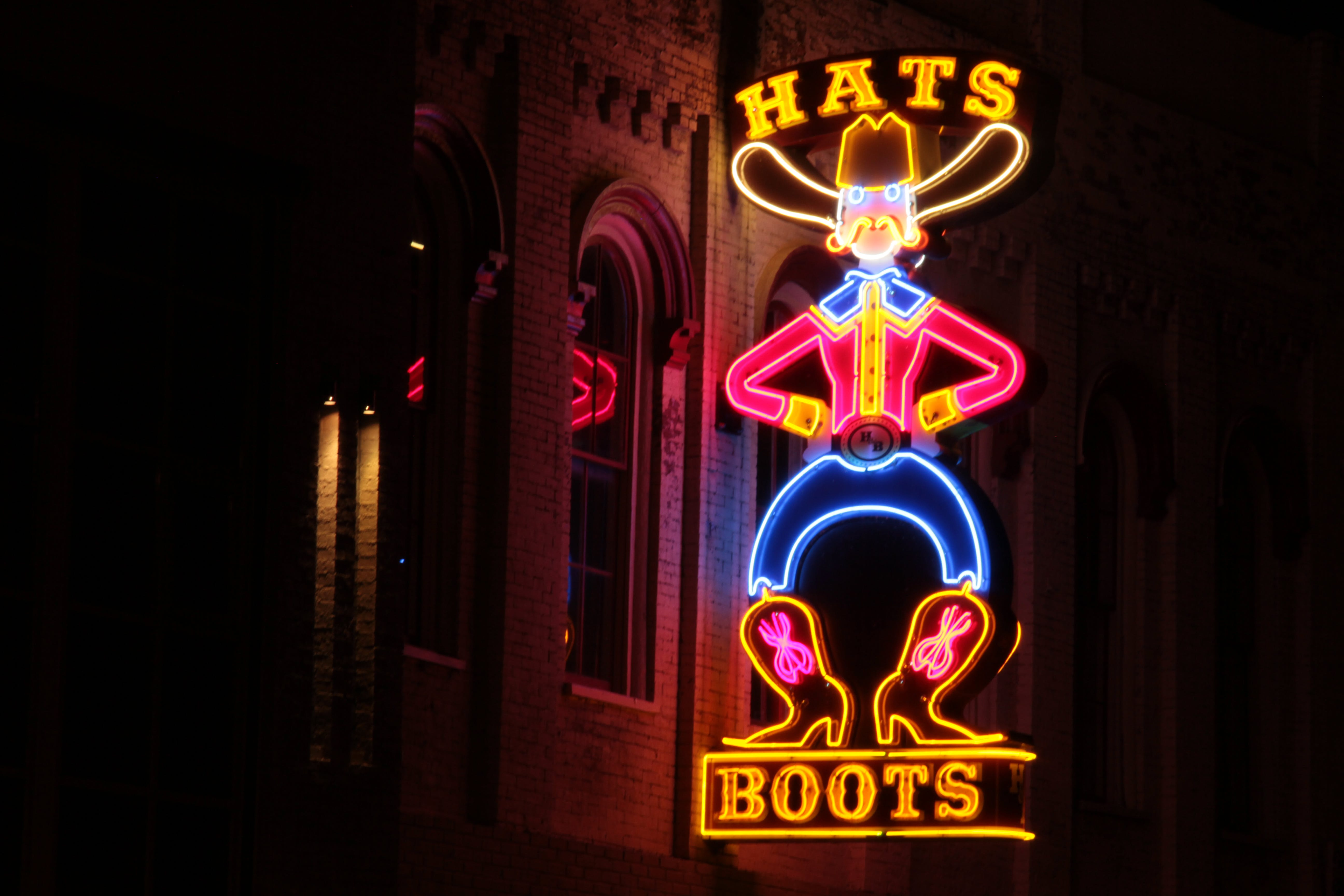 Free stock photo of boots, hats, Nashville, neon