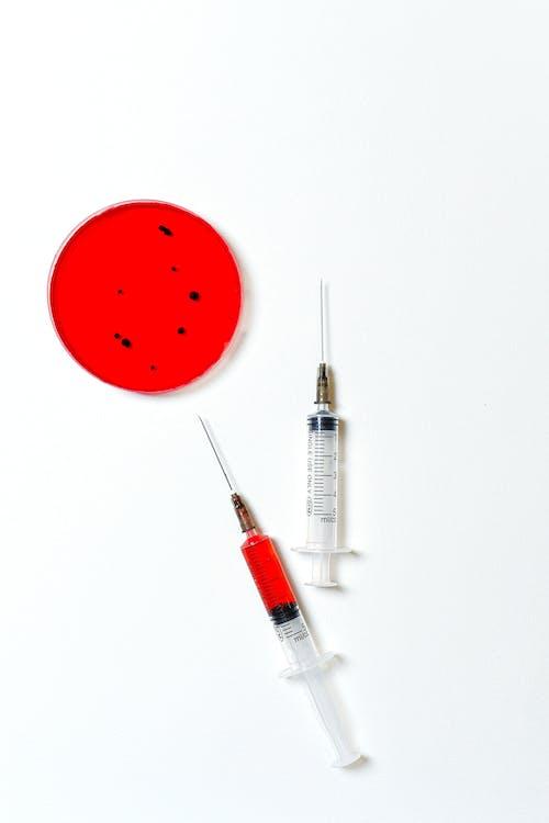 Syringes and Petri Dish on White Background