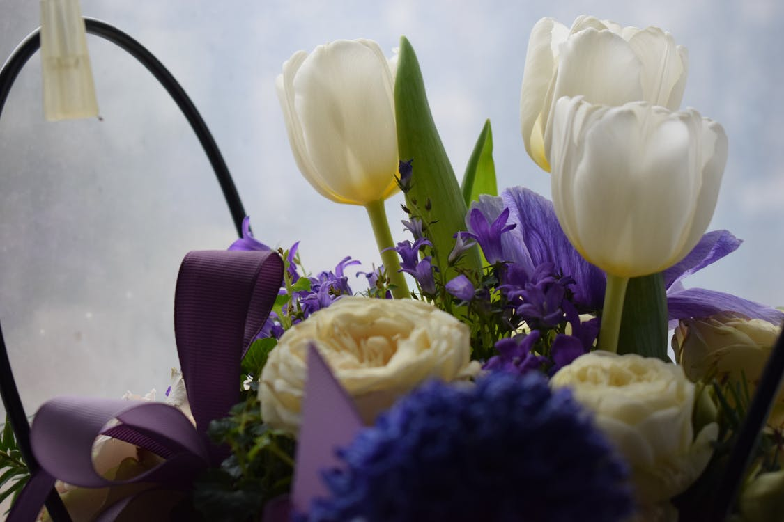 White and Purple Flower Bouquet