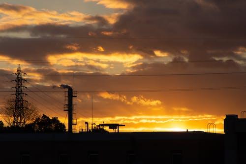 Free stock photo of city, factory, sunset