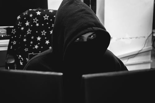Free stock photo of anonymous, black and white, computer, hacker