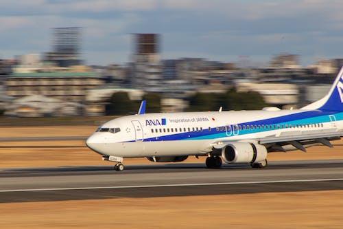 Free stock photo of airplane, airplane landing, ana