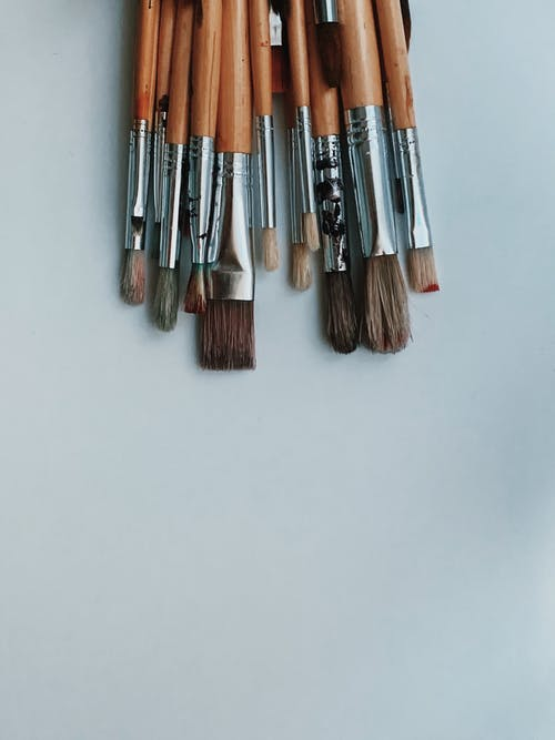 Brown and Silver Makeup Brushes