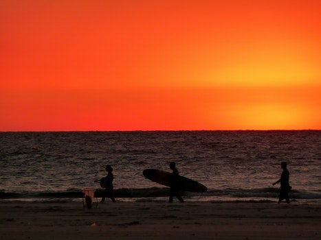 Free stock photo of sea, sunset, surfer, orange