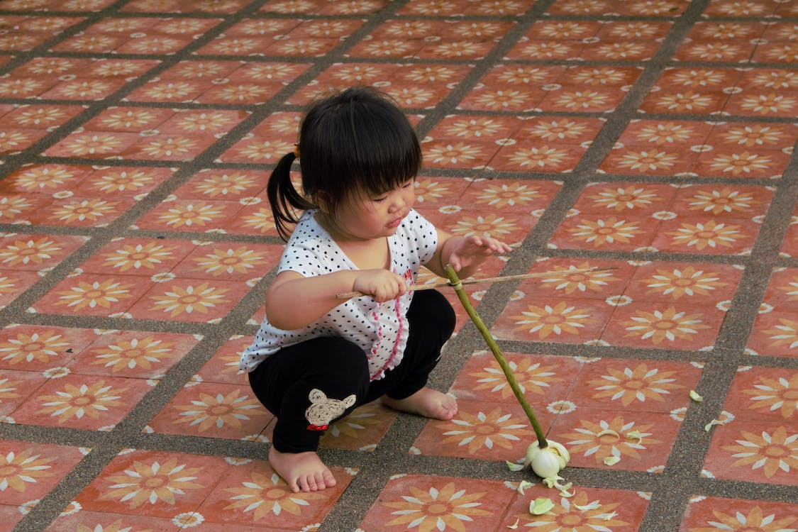 child, lotus flower, south east asia