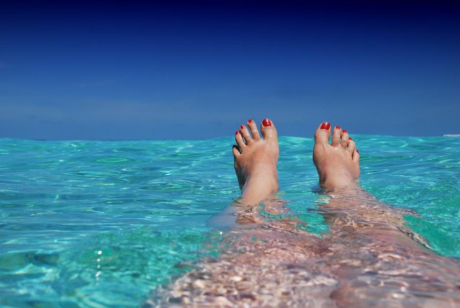 beach, blue, feet