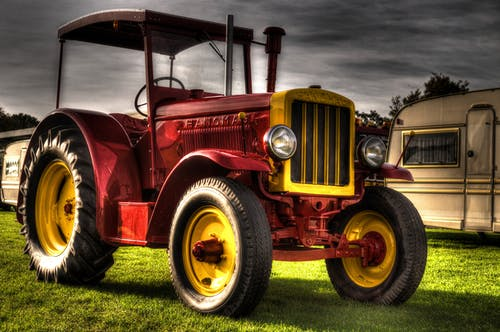 Red and Yellow Tractor Illustration