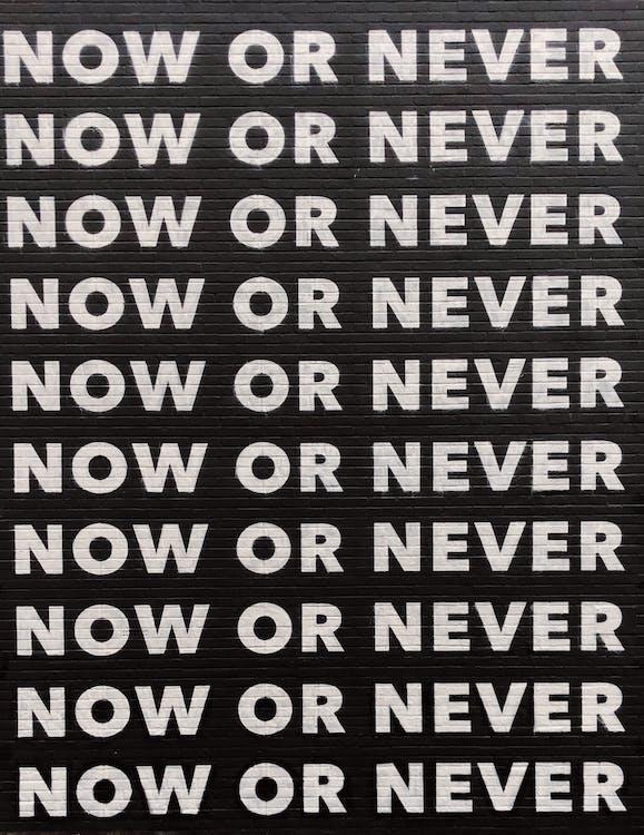ảnh bìa trắng đen, bản văn, bây giờ hoặc không bao giờ