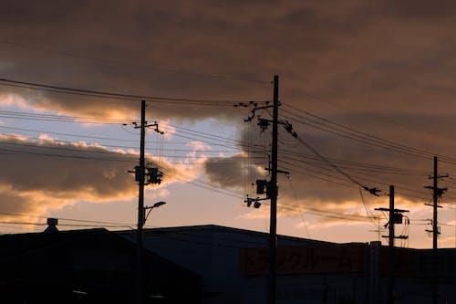 Free stock photo of electricity pole, japanese, sunset