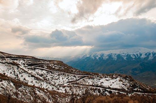 Snowy mountainous terrain under cloudy sky