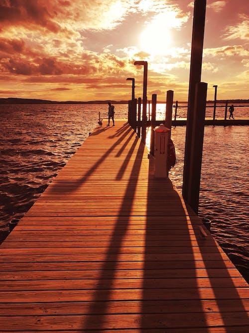 Free stock photo of boardwalk, dock, docking area, golden horizon