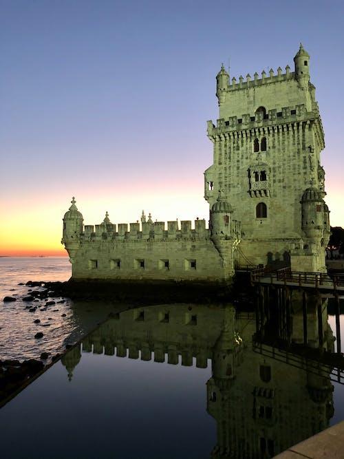 Foto stok gratis Lisbon, matahari terbenam, musim dingin
