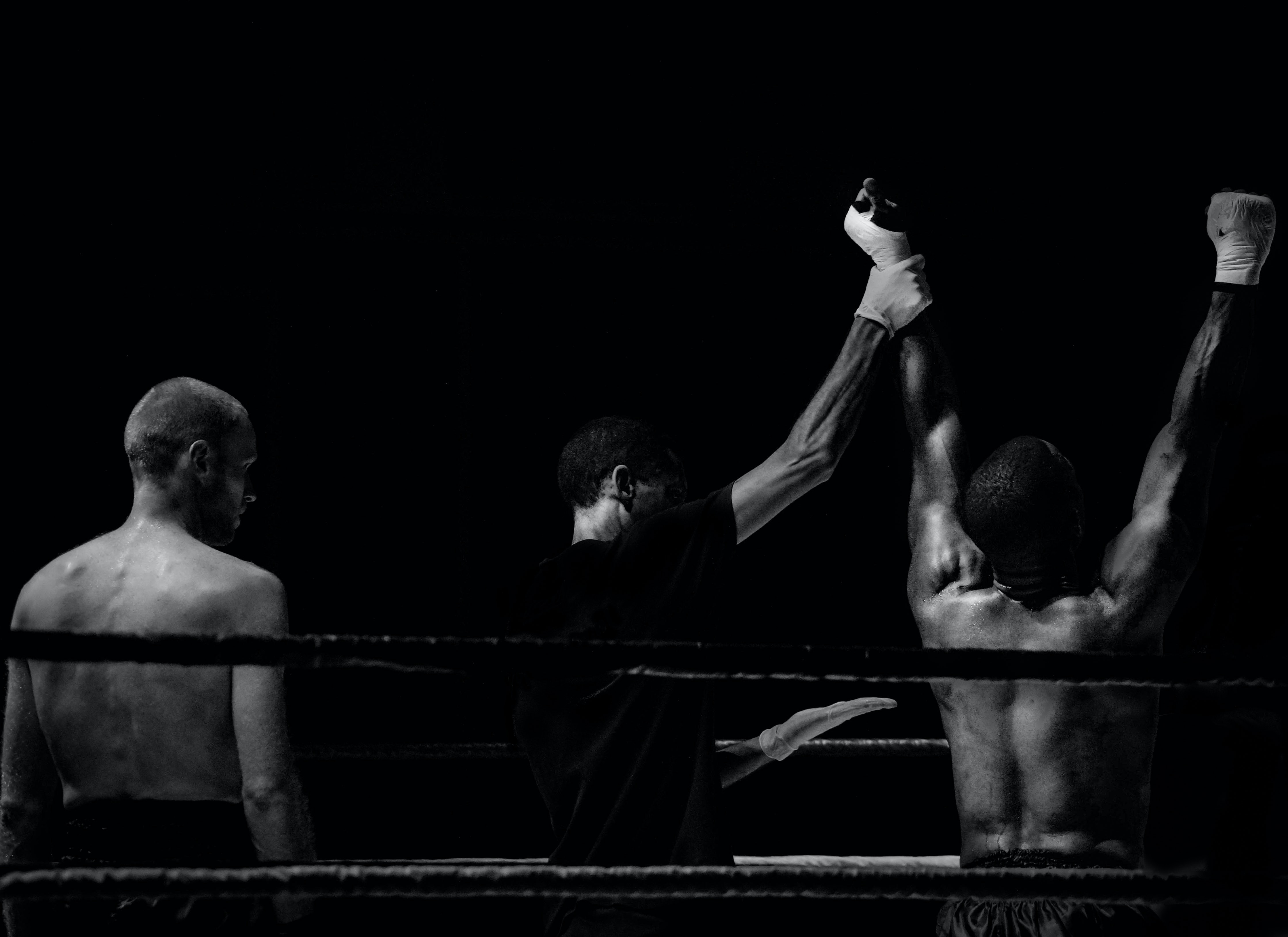 Sports Wallpapers Black And White: Grayscale Photography Of Man Holding Boxer's Hand Inside