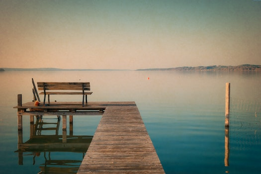 Free stock photo of bench, jetty, sea, dawn