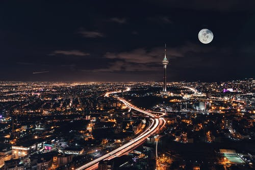 Photo of a City at Night