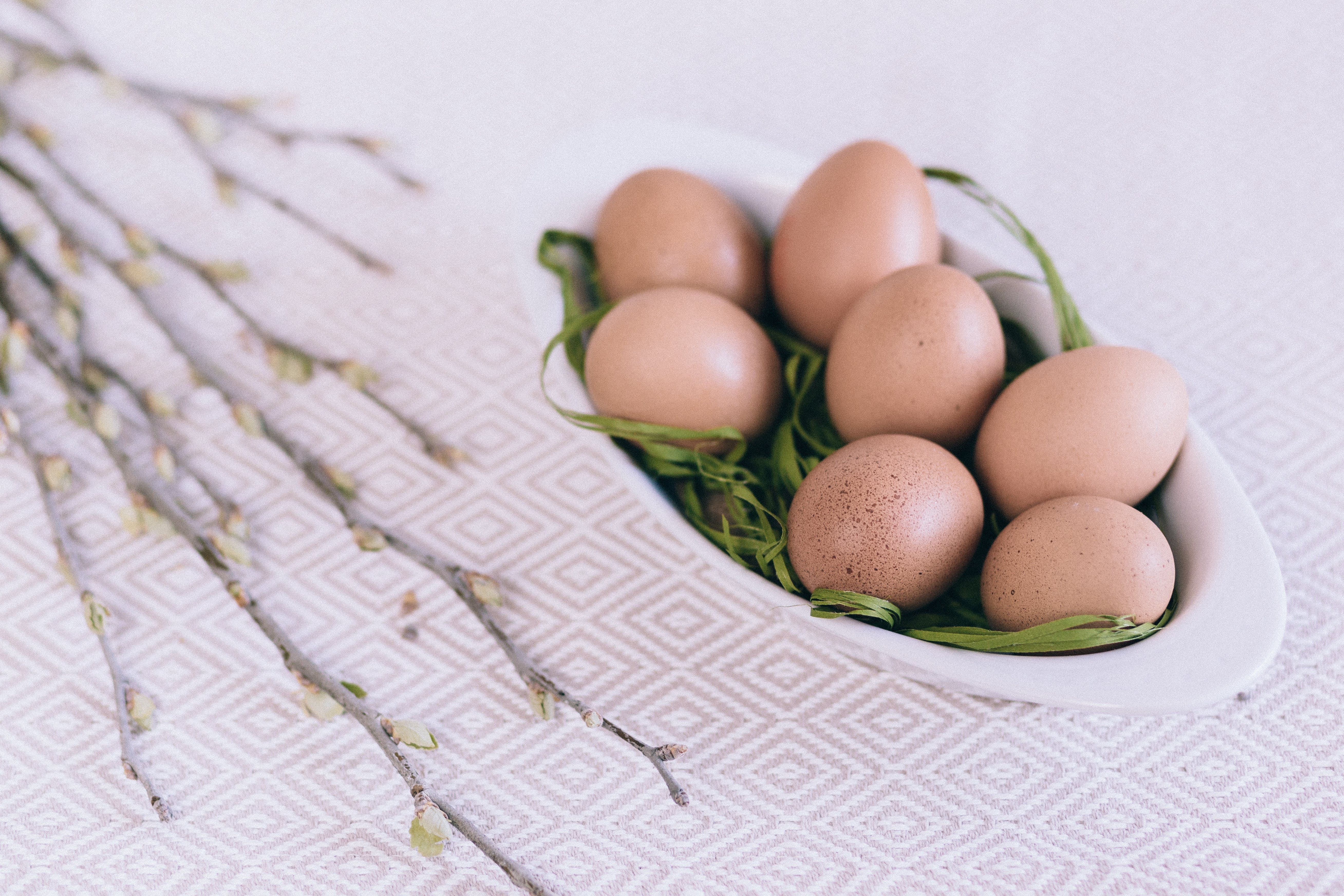 Bowl of Organic Eggs on Table