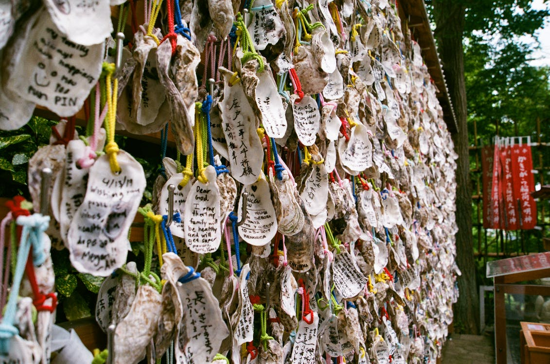 Wishes Written in Seashells at a Buddhist Temple