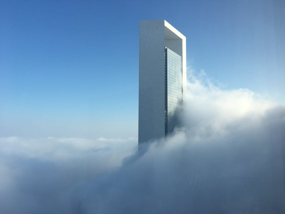 Free stock photo of ADNOC Building & Fog, architecture, blue sky