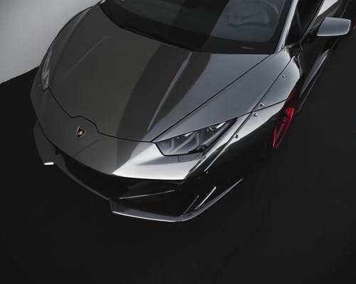 High Angle Photo of Black Lamborghini