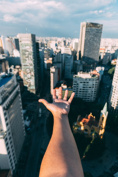 Person Showing Left Palm With Buildings Background