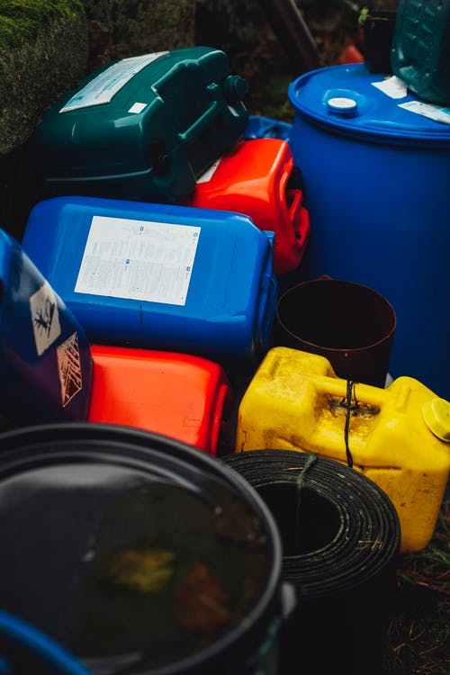 Colorful plastic containers for chemicals