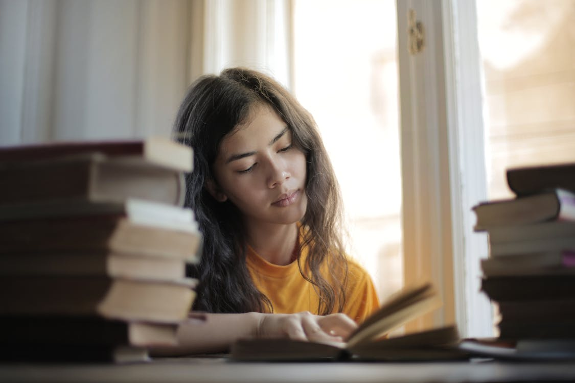 Young smart Asian woman reading book while sitting at table by window in soft daylight