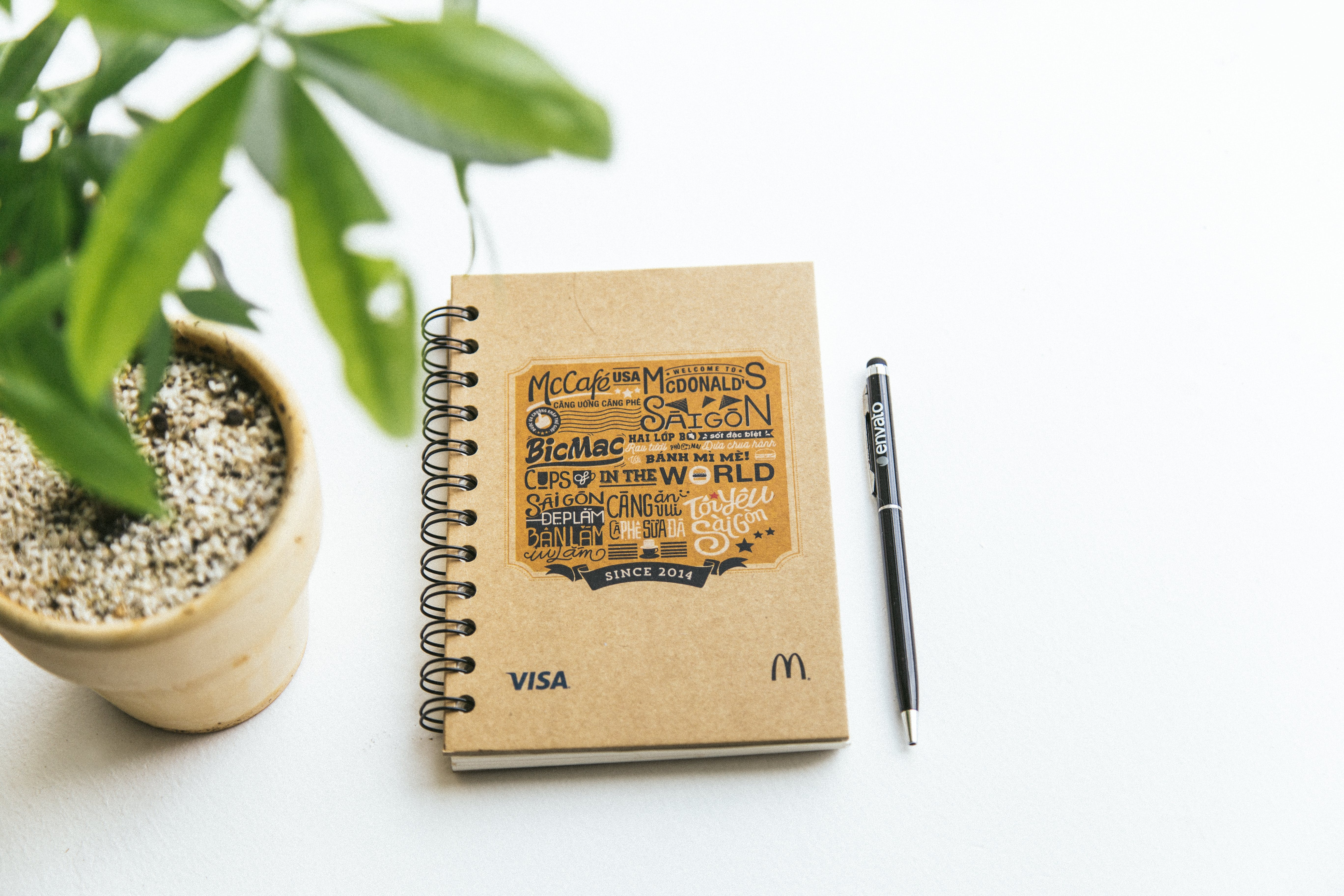 Free stock photo of notebook, pen, plant, pot