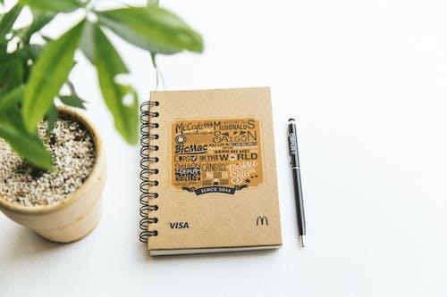 Kostenloses Stock Foto zu notizbuch, pflanze, spirale notebook, stift