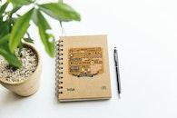 notebook, pen, plant