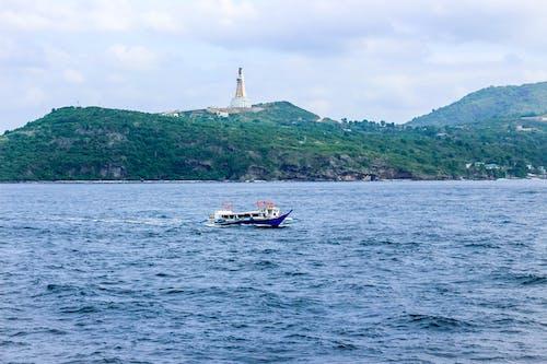 Free stock photo of blue sea, boat, green mountains, montemaria